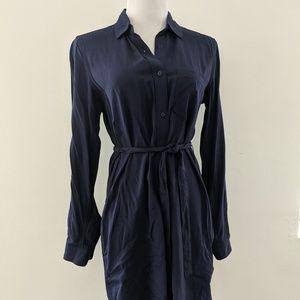 Navy GAP Button Down Shirtdress w/ tie waist